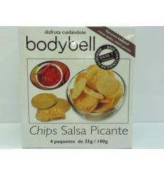 Bodybell Chips salsa picante, 1 caja 4 unidades