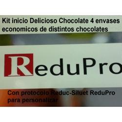 .Kit inicio Redupro para 12 dias Delicioso chocolate, en envase economico con protocolo Reduc-Siluet para personalizar