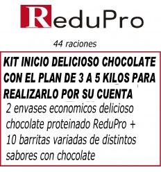 .ReduPro Kit inicio, con Plan 3 a 5 kilos, delicioso Chocolate, 44 raciones.