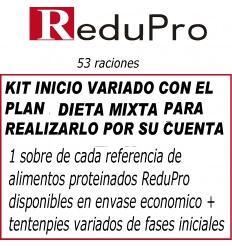.ReduPro Kit inicio, con PLAN DIETA MIXTA ( Dieta proteinada+Dieta limpia), variado sencillo, con 53 raciones.