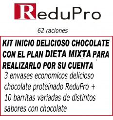 .ReduPro kit inicio, con Plan DIETA MIXTA, delicioso Chocolate 62 raciones