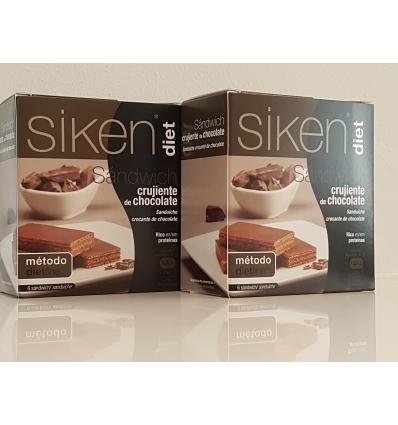 Siken Diet 2 cajas de Sandwich crujiente de chocolate. OFERTON la segunda unidad a mitad de precio