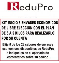.ReduPro Kit inicio, con plan 3 a 5 kilos, de 5 envases economicos de libre eleccion.
