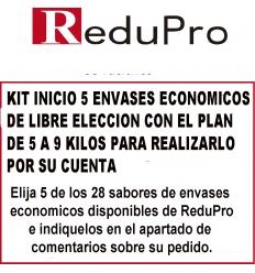 .ReduPro Kit inicio, con plan 5 a 9 kilos, de 5 envases economicos de libre eleccion.