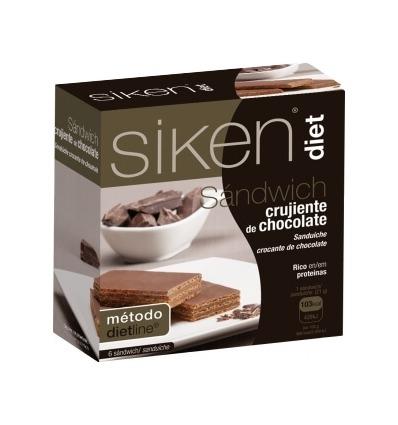 Siken Diet Sándwich crujiente de Chocolate, caja con 6 sándwich.