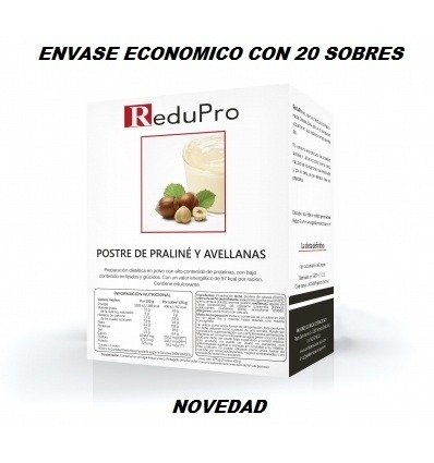 ReduPro Cremoso Postre de Praliné Avellana, ENVASE ECONOMICO caja con 20 sobres. Tambien Mousse o Bebida.