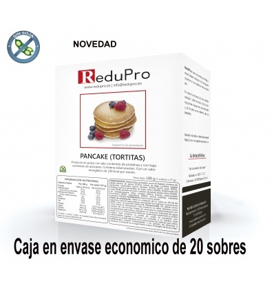 ReduPro Pancake Tortita Natural. Caja de 20 sobres (envase economico)